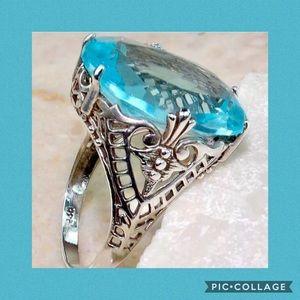 Jewelry - 🦋AQUAMARINE RING IN A VICTORIAN DESIGN SETTING🦋